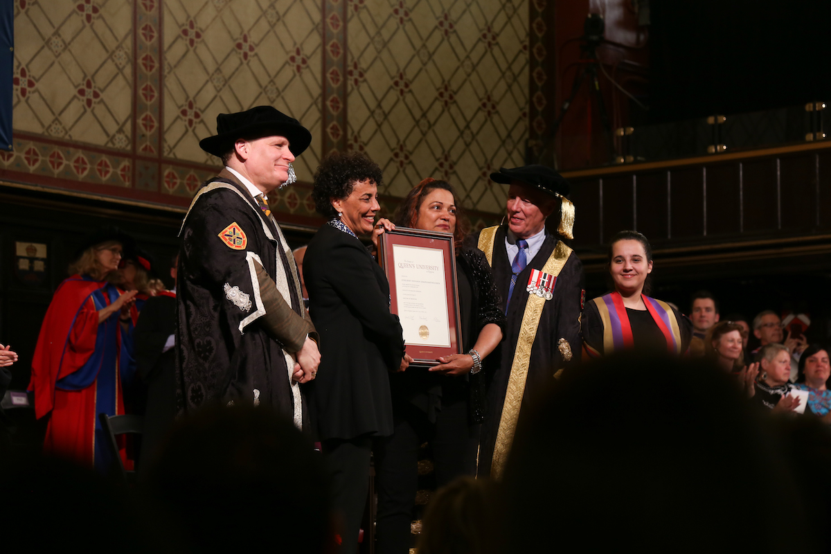 Maria on stage receiving degree