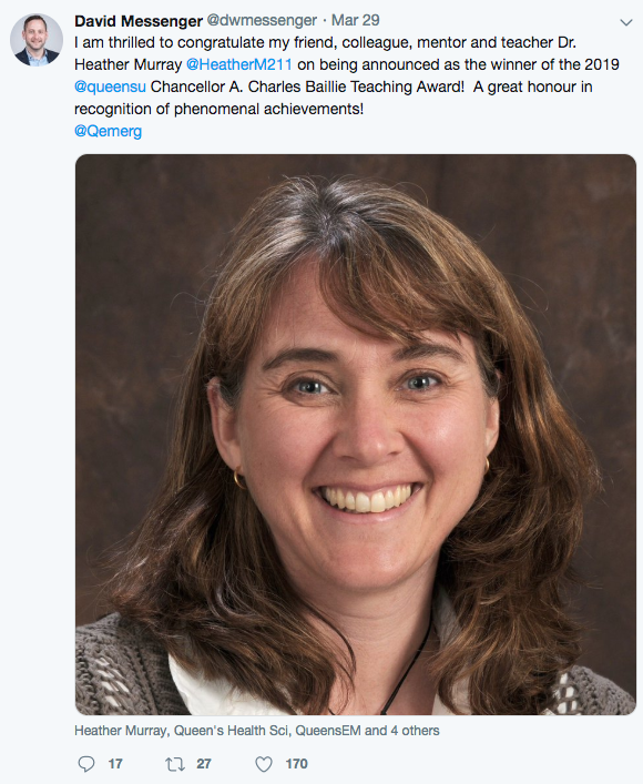 Dr. David Messenger's congratulatory tweet to Dr. Heather Murray