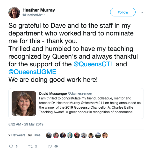 Dr. Heather Murray tweets about her gratitude for the award.