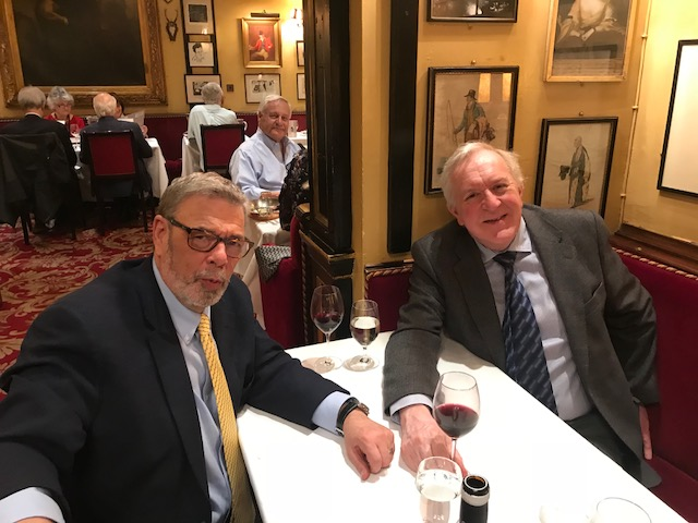 Dinner with Professor Derek Alderson, President of the Royal College of Surgeons of England, at Jules, London's oldest restaurant