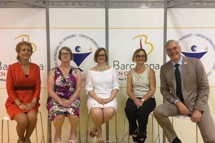 Dr. Kim Sears (centre) with her colleagues on the poster scientific committee at the International Council of Nurses in Geneva, Switzerland.