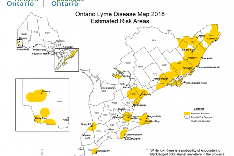 Ontario Lyme Disease Map 2018: Estimated Risk Areas