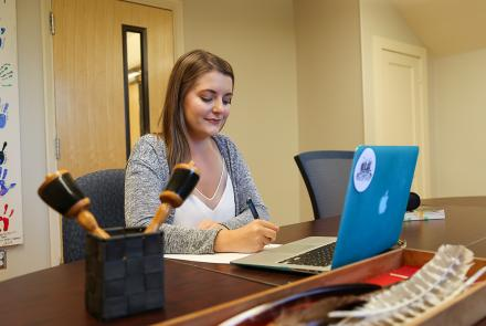 Student studying at Four Directions Indigenous Student Centre