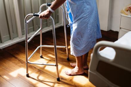 Person with walker in hospital